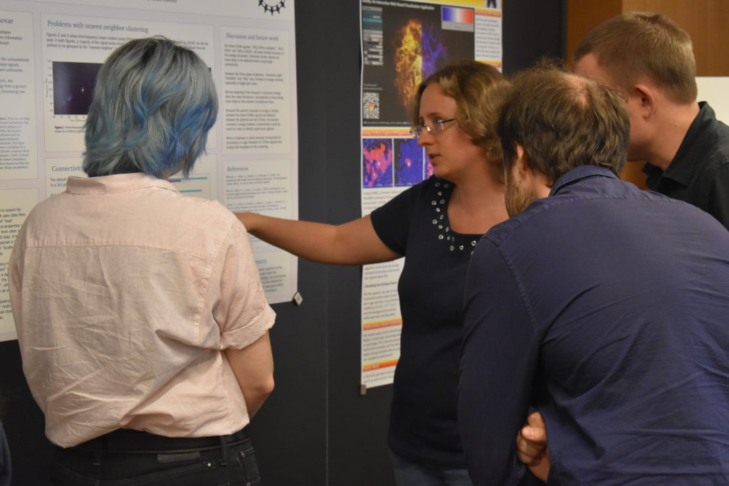 Sinead Humprey shows research to CIERA Postdocs at 2018 REU poster session